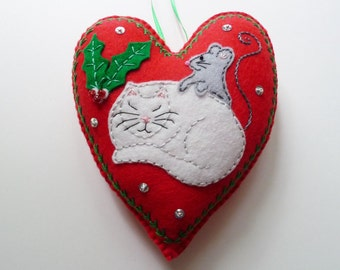 Personalized Christmas Cat Ornament, Felt Heart, Felt Cat, Doorknob Hanger, Doorknob Pillow, Catnap, Sleeping Cat, Cat and Mouse, Cat Decor