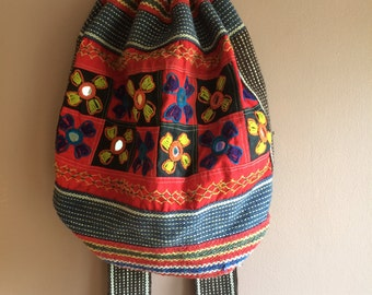 Mirrored and embroidery festival backpack
