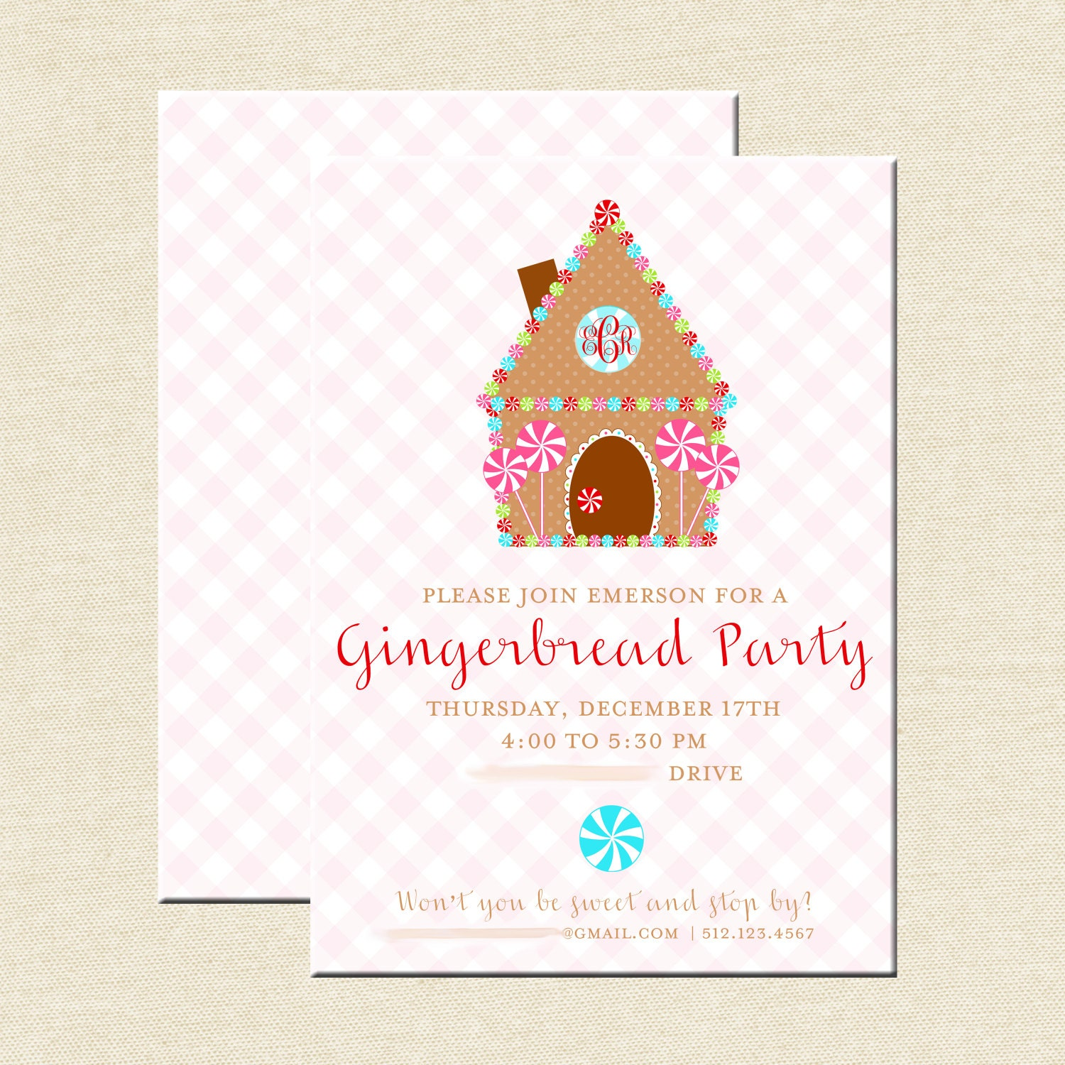 Gingerbread house decorating invitations Gingerbread house decorating party invitations