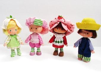 Strawberry Shortcake And Friends, Mint Tulip, Huckleberry Pie And Raspberry Tart Dolls 1980s