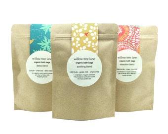 Organic Detox Bath Bags, Dead Sea Salt, Activated Charcoal and Juniper Berries, Vegan