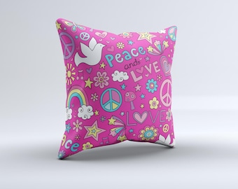 The Peace Love Pink Illustration   ink-Fuzed Decorative Throw Pillow