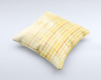 The Scratched Yellow Faded Plaid ink-Fuzed Decorative Throw Pillow