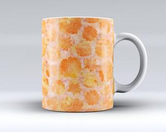 Orange Floral Succulentss-ink Fuzed Ceramic Coffee Mug or Tea Cup