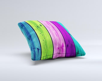 Wide Neon Wood Planks ink-Fuzed Decorative Throw Pillow