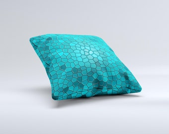 Abstract Blue Tiled ink-Fuzed Decorative Throw Pillow
