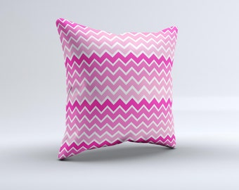 The Pink & White Ombré Chevron V2 Pattern ink-Fuzed Decorative Throw Pillow