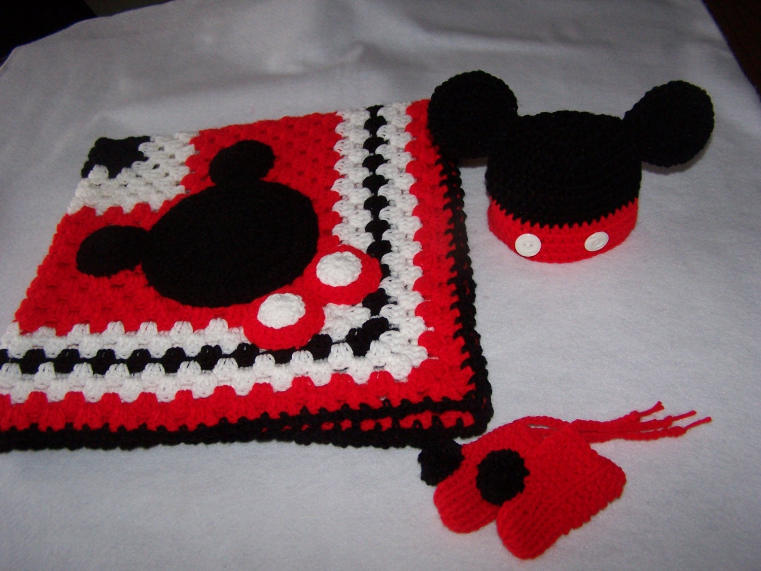 Hand Crocheted Disney Mickey Mouse Granny Square Baby Blanket