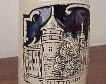 Miniature Beer Mug Hand Painted City of Stuttgart Stoneware