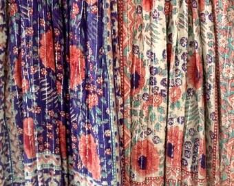 India Dress Vintage 70s Gauze Cotton Indian Boho Hippie India Sultana Metallic