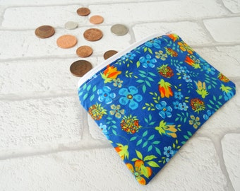 Blue floral coin purse, Flower coin purse, Floral loose change purse, Floral zippered pouch, Liberty fabric coin purse, Liberty of London