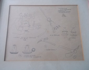 Walt Disney Pencil Sketch Model Sheet Snow White Props drawing & illustration