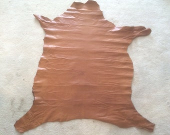 Italian Lambskin Leather hide - Tan / Cognac