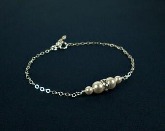 Wedding Pearl Bracelet, Pearl Bracelet Wedding, Bridal Bracelet Pearl, Bride Bracelet, Wedding Bracelet, Simple Pearl Bracelet, Bridesmaid