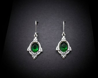 Silver Earrings Emerald Glass Art Deco 1920's Style FREE SHIPPING USA