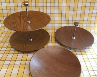 Three Pieces of 1960's Vintage Ianthe Wood Effect Tableware