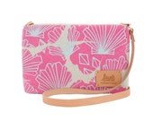 """Luxe by Jana Lam Leather Strap Cross Body - One of a Kind Print, """"Sunny""""- Made in Hawaii by Jana Lam"""