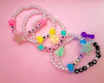 Pastel Rainbow Woman Empowerment Kawaii Kandi Bracelet Set Of 5