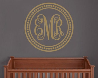 Personalized Circle Monogram Wall Decal, Wall Decor, Vinyl Wall Decor, Bedroom Decal,  Home Decor, Bedroom Decor, Nursery Decor, Polka Dot