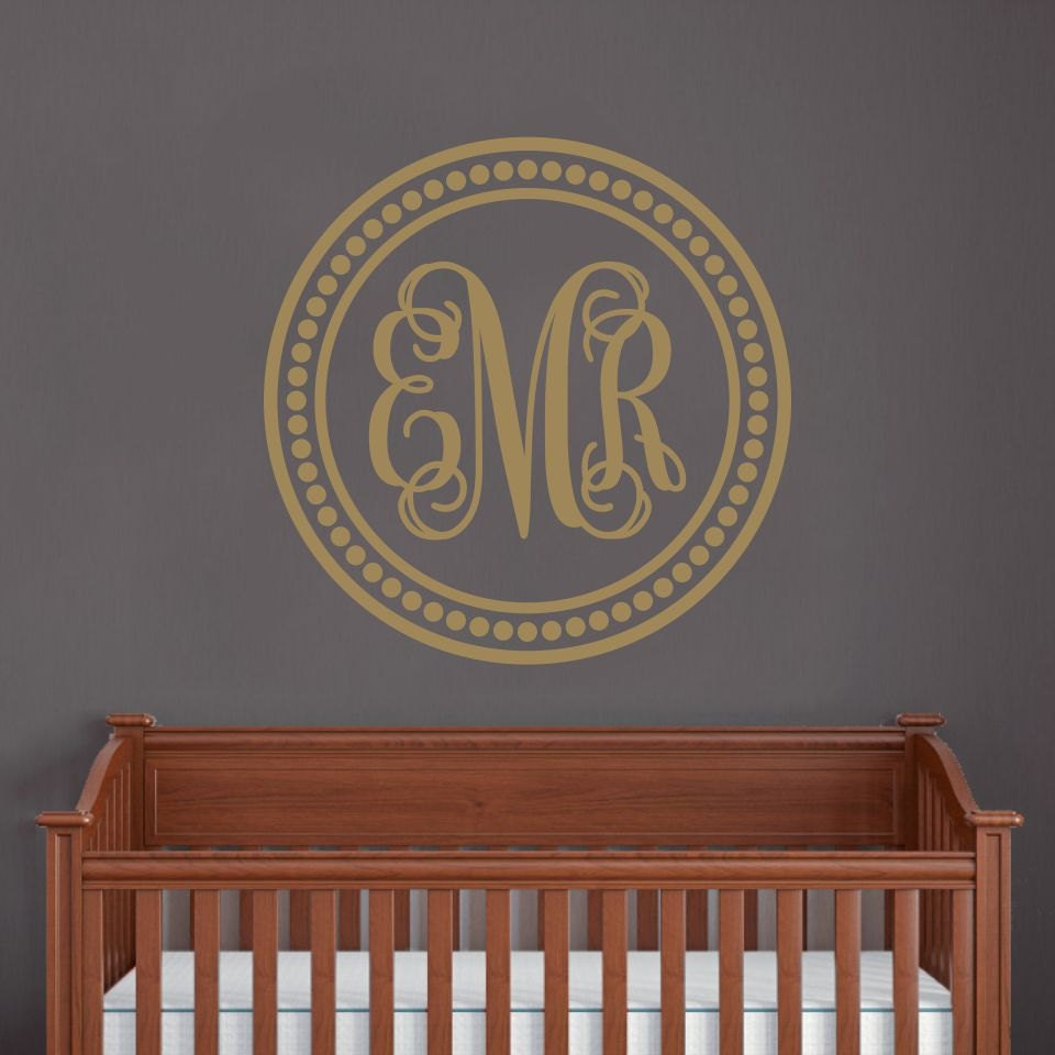personalized circle monogram wall decal wall decor vinyl. Black Bedroom Furniture Sets. Home Design Ideas