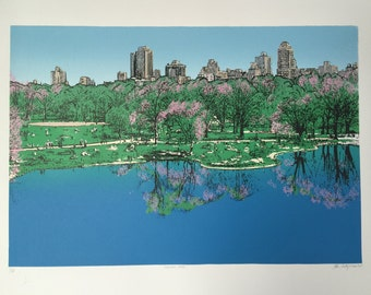 "New York Serigraph-Central Park-NY 17 x 25"" (screen print) Limited edition- by Kiss a Cow"