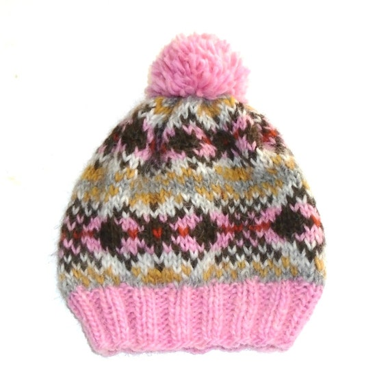PDF Knitting Pattern - Fair Isle - Icelandic Wool Hat Pattern - Bobble Hat - ...