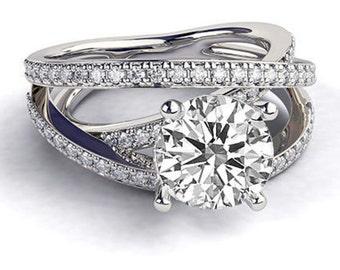 Platinum Ring Handmade Moissanite Engagement Ring,  Accented Promise Ring, 1.5 TCW Forever Brilliant Moissanite