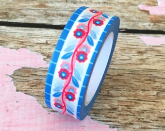 Blue and Red Folk Art Floral Washi Tape 15mm