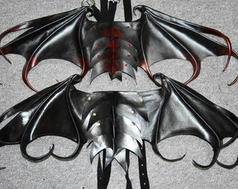Wearable leather dragon wings - both in picture 1 available now