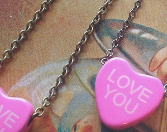 "Vintage Pink Candy heart necklace ""LOVE YOU"" - Only two available"