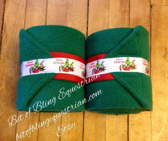 4 Christmas Grinch Polo Wraps - set of 4, red or green