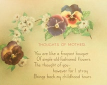 Vintage Mom Quote Litho Print - Thoughts Of Mother - Pansies - 1938 Reliance Picture Frame - Mothers Day Gift - Antique Illustration 1930s