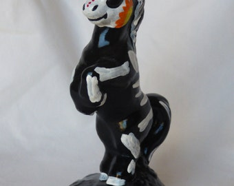 Hand Painted Day of the Dead Unicorn Statue-Cute Statue-Unicorn Statue-Sugar Skull-Dia De Los Muertos-Christmas Present-Unicorn Skeleton