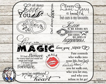 Love Romance Overlays / Clip Art / Digital Stamp / Word Art / Scrapbooking / Photography / Quotes / PSD / 40 PNG - black / white / chalk