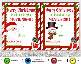 Redbox Codes gift Tags 4 Different Designs Digital Printable  Merry Christmas to all and to all a Movie Night  REDBOX Code Movie Gifts Cards
