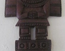 AZTEC Hand Carved Wood Mayan, Inca, Mexican Wall Mask Sculpture Art