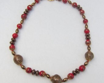 15% OFF !! Venetian Glass Necklace/Choker Red Brown Murano Glass Beads