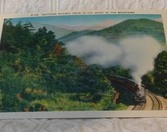 Vintage Southern Railway Train in the Heart of the Mountains Postcard