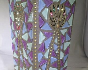 Purple Beauty Glass Mosaic Vase,Handmade by the Artist Va108