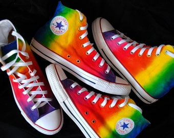 Custom handpainted rainbow sneakers, personalized shoes, rainbow  converse, rainbow vans