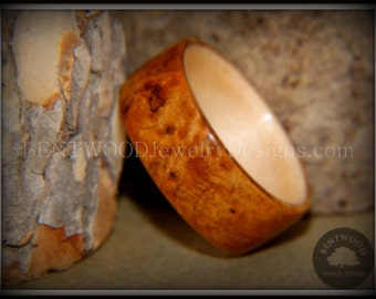 Bentwood Golden Amboyna Burl Wood Ring with Maple Liner Handcrafted Durable and Unique
