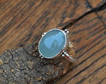 Natural Aquamarine Gemstone Ring, Aquamarine Cabochon Ring, Sterling Silver Ring, Yellow Gold Ring, March Birthstone Gift Ring, Bezel Ring