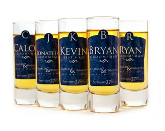 Groomsman Gifts, 8 Custom Shot Glasses // Personalized Gifts for Groomsmen, Best Men and Ushers