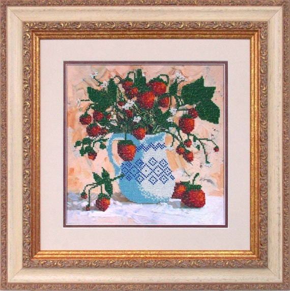 Strawberry bead embroidery DIY set, wall decor, craft kit, houswarming gift idea, beaded painting