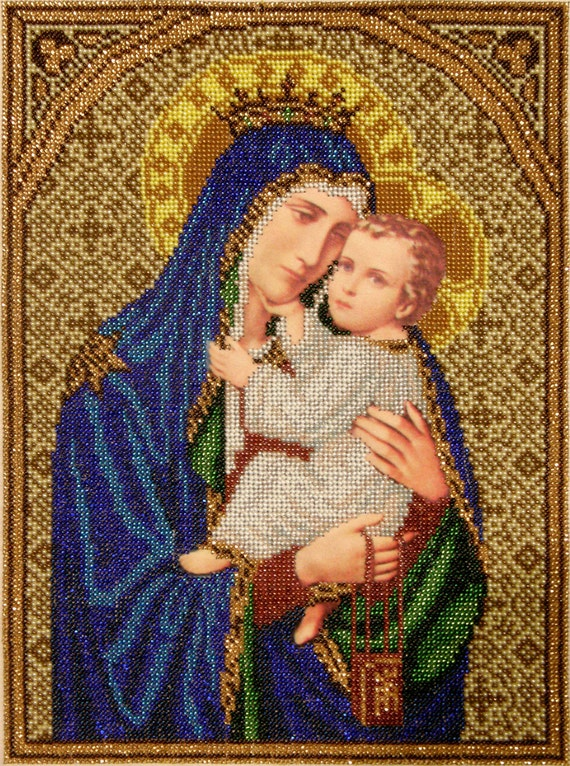 Our Lady of Mount Carmel bead embroidery DIY kit, Religious picture, beading on printed silk, needlework craft set, bead stitching