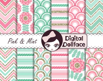 Pink and Mint Digital Paper Pack, Pink Mint and Gold Birthday Printables, Scrapbook Paper