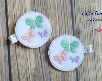 Butterfly Felt Hair Clips - Set of Two - Hair Bows for Girls Toddlers Baby - Party Favor - Hair Accessories - Pigtail Bows