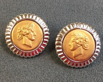 """Eighties """"Ancient Coin""""  Pierced Earrings .  Free shipping ."""