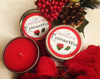 Fresh clean Holiday Poinsettia scented soy candle.  True Poinsettia plant fragrance with a touch of Holiday spice.  Great gift for any home.