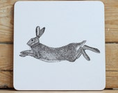 Hare placemat & coaster set (Black and white)